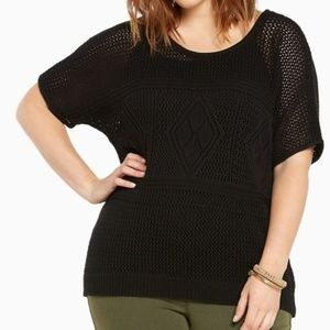 Torrid Black Open Knit Acrylic Sweater ~ 3X